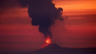 Anak Krakatau (Child of Krakatoa) volcano is seen from Japanese helicopter carrier Kaga at the Indian Ocean