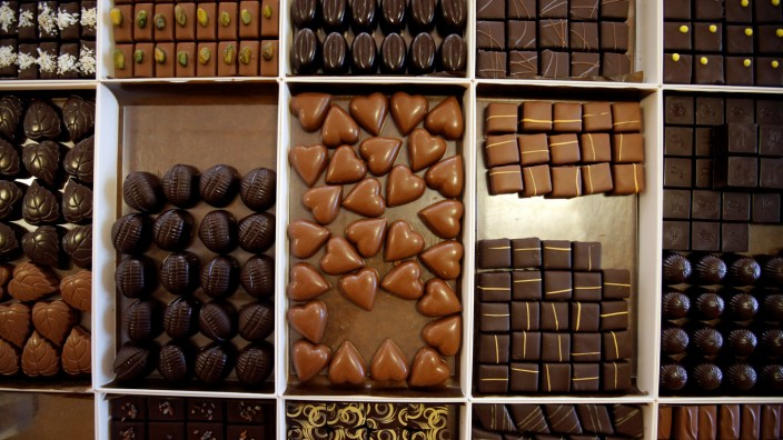 Hand-made chocolates are displayed at the Puyricard chocolate factory in Puyricard