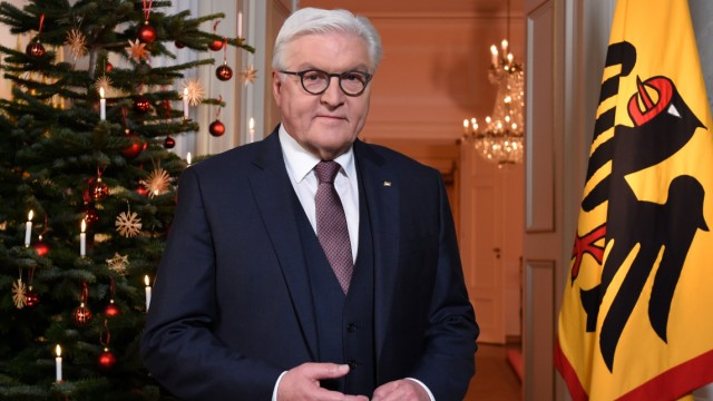 German President Frank-Walter Steinmeier poses after the recording of the traditional Christmas message at Bellevue Palace in Berlin