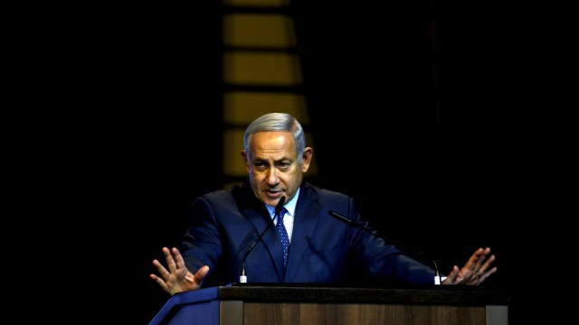 FILE PHOTO: Israel's Prime Minister Benjamin Netanyahu speaks during the Christian Media Summit in Jerusalem