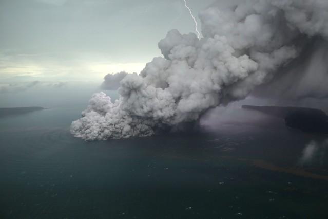 An aerial view of Anak Krakatau volcano during an eruption at Sunda strait in South Lampung