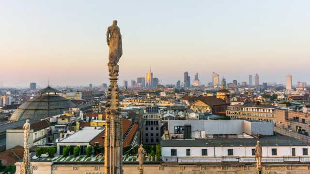 Italy. Lombardy. Milan. Skyline Viewed from Duomo Roof