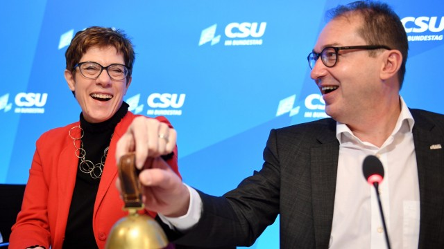 Christian Democratic Union, CDU party leader Annegret Kramp-Karrenbauer and Parliamentary group leader of the CSU Alexander Dobrindt attend a Christian Social Union party meeting at 'Kloster Seeon' in Seeon