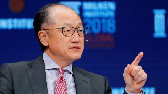 FILE PHOTO: Jim Yong Kim, President of the World Bank Group, speaks at the Milken Institute 21st Global Conference in Beverly Hills, California