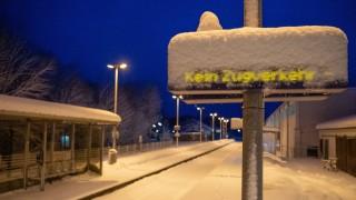 Schnee in Bayern - Bahnhof in Miesbach