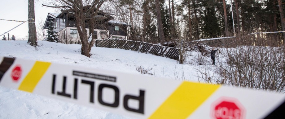 Police work outside the house of Norwegian Anne-Elisabeth Falkevik Hagen, who is the wife of real estate investor Tom Hagen, and has been kidnapped according to local media, in Fjellhamar