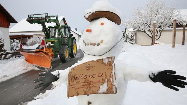 Schneemann träumt von Mallorca