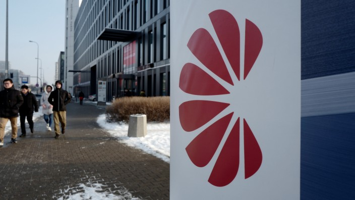 Logo of Huawei is seen on the advert in front of the local offices of Huawei in Warsaw