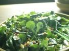 Feldsalat mit Kartoffeldressing und Speck