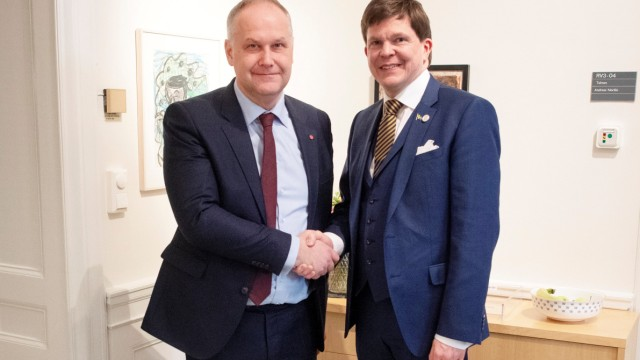 Left Party leader Jonas Sjostedt meets with the Speaker of the Parliament Andreas Norlen in Stockholm