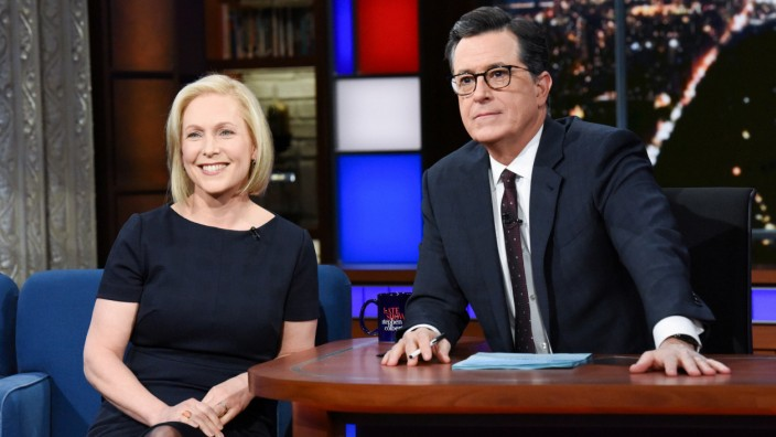 Senator Kirsten Gillibrand on the Late Show with Stephen Colbert in New York