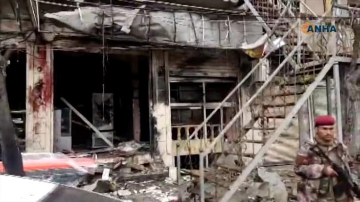 Syrien - Zerstörtes Gebäude nach einem IS-Anschlag in Nordsyrien