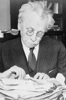 Abraham Cahan at his desk, 1937 (b/w photo)