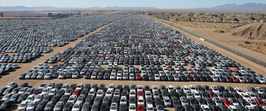 Reacquired Volkswagen and Audi diesel cars sit in a desert graveyard near Victorville