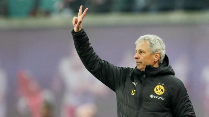 BVB-Trainer Lucien Favre beim Spiel gegen RB Leipzig