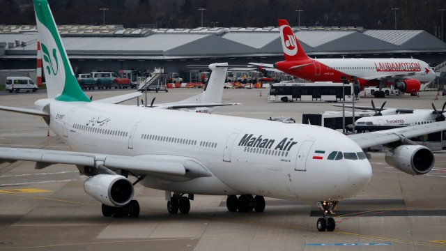 An Airbus A340-300 of Iranian airline Mahan Air taxis at Duesseldorf airport