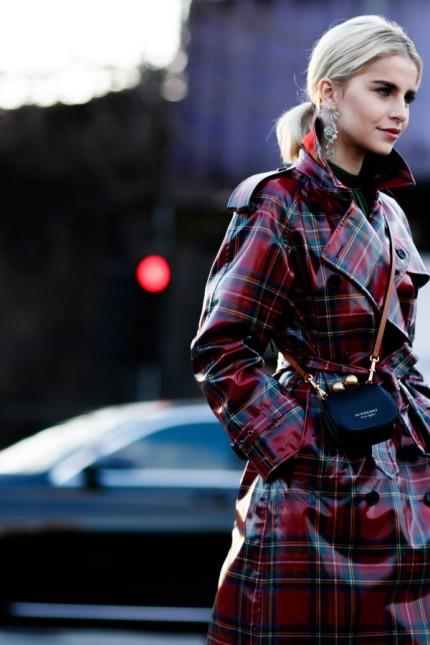 Blogger Caroline Daur posing outside the Burberry runway show during London Fashion Week Feb 17 2