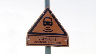 Warnschild für Autonomes Fahren auf Sylt