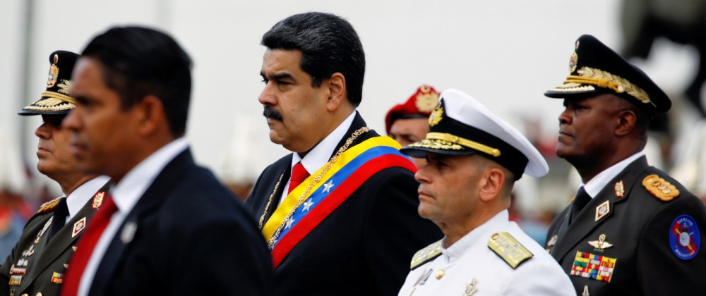 FILE PHOTO: Venezuelan President Nicolas Maduro attends a ceremony, after his swearing-in for a second presidential term, at Fuerte Tiuna military base in Caracas