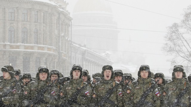 Probe zu Militärparade zum Ende der Leningrader Belagerung