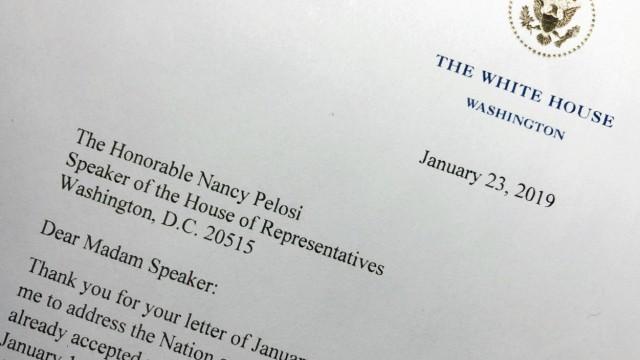 Brief von  Donald Trump an Nancy Pelosi