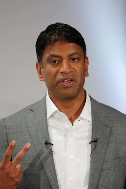 CEO Narasimhan of Swiss drugmaker Novartis addresses the company's annual news conference in Basel