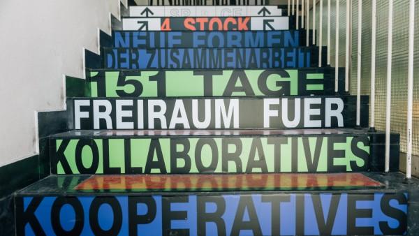 Das Zwischennutzungsprojekt 'SP CE' in der Alten Akademie in München am 29.01.2019.