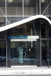 FILE PHOTO: A woman walks past Danske Bank's Estonian branch in Tallinn