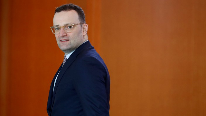 German Health Minister Jens Spahn arrives to the weekly cabinet meeting in Berlin