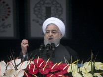 190211 TEHRAN Feb 11 2019 Iranian President Hassan Rouhani speaks during a large gatherin