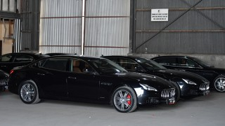 A fleet of Maserati cars are seen during the 2018 APEC forum in Port Moresby