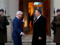 Polish Foreign Minister Jacek Czaputowicz meets U.S. Secretary of State Mike Pompeo at the Lazienki Palace in Warsaw