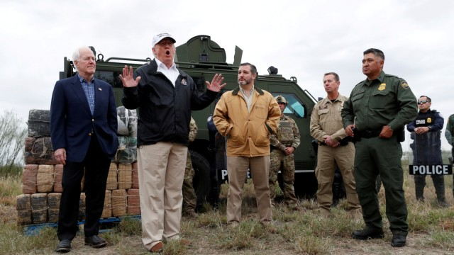 U.S. President Trump visits U.S.-Mexico border with border patrol agents in Mission, Texas