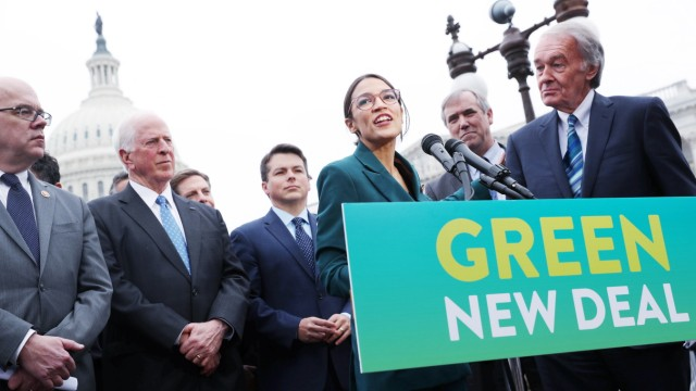 U.S. Representative Ocasio-Cortez and Senator Markey hold a news conference for their proposed 'Green New Deal' at the U.S. Capitol in Washington