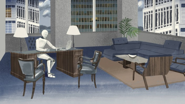 Roboter Manager sitzt am Schreibtisch im Großstadtbüro PUBLICATIONxINxGERxSUIxAUTxONLY Copyright xL