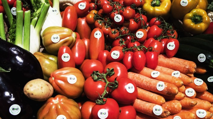 February 8 2017 Berlin Germany Bio labelled vegetables are pictured at an Italian stand in the