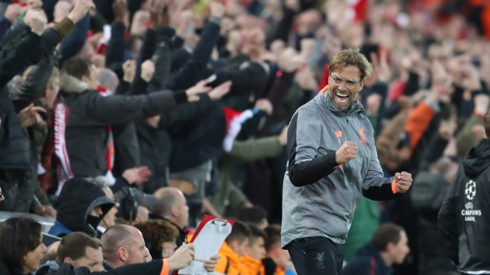 Jurgen Klopp manager of Liverpool celebrates the first goal during the Champions League Semi Final 1