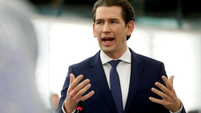 FILE PHOTO: Austrian Chancellor Kurz delivers a speech during a debate at the European Parliament in Strasbourg