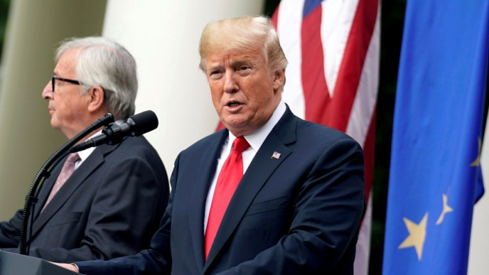 FILE PHOTO: U.S. President Donald Trump and European Commission President Jean-Claude Juncker speak about trade relations at the White House in Washington