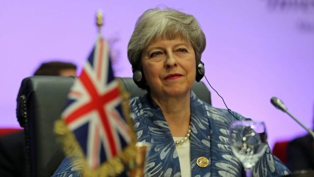Theresa May auf einer Konferenz 2019 in Ägypten