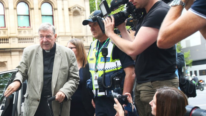 Cardinal George Pell is seen at County Court in Melbourne, Australia