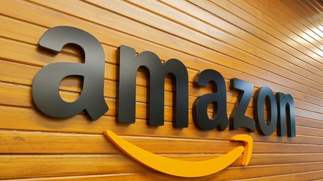 FILE PHOTO: The Amazon logo inside the company's office in Bengaluru