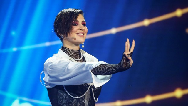 Ukrainian singer Anna Korsun, known by the stage name MARUV, performs during the Ukrainian national final selection for the Eurovision Song Contest in Kiev
