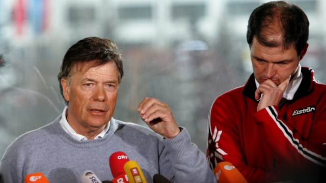 Schroecksnadel and Gandler of the Austrian Skiing Federation give a news conference in Sestriere
