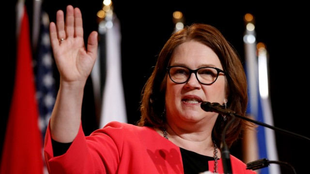 FILE PHOTO: Canada's Indigenous Services Minister Philpott speaks during the AFN Special Chiefs Assembly in Gatineau