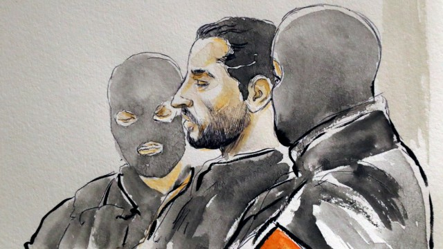A court artist drawing shows Mehdi Nemmouche during the trial of Nemmouche and Bendrer at Brussels' Palace of Justice