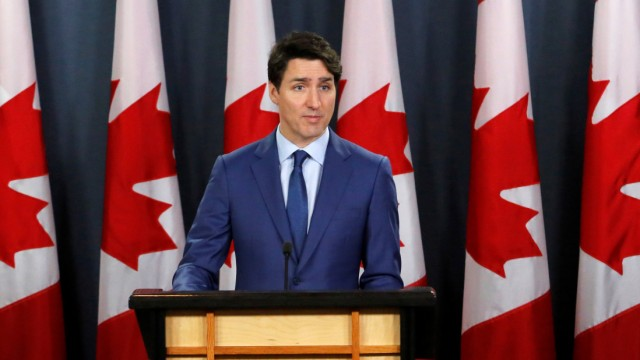 Canada's Prime Minister Justin Trudeau speaks at a news conference in Ottawa