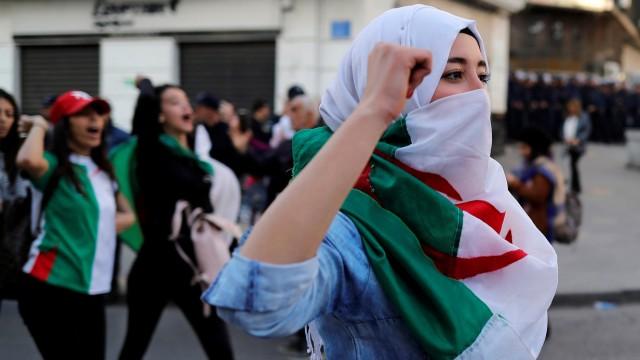 Students protest against Algeria's President Abdelaziz Bouteflika, in Algiers