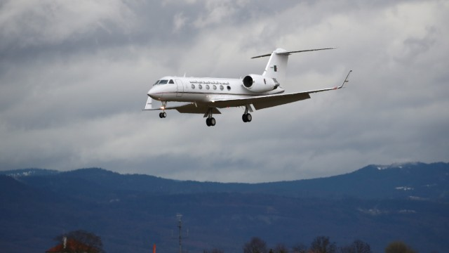An Algerian government Gulfstream plane lands at Cointrin airport in Geneva