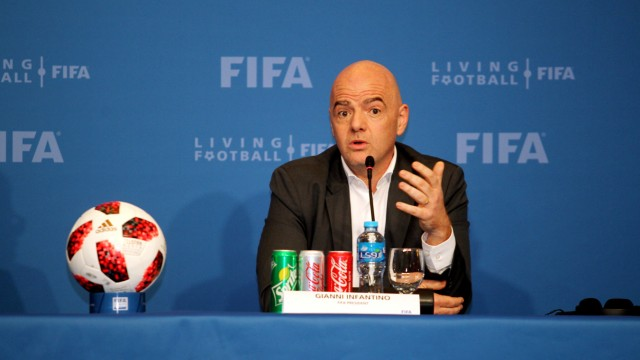 FILE PHOTO: FIFA president Gianni Infantino speaks during a news conference in Doha
